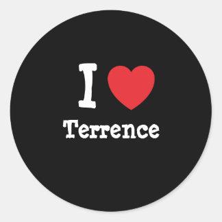 Amo el personalizado del corazón de Terrence Pegatina Redonda