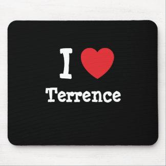 Amo el personalizado del corazón de Terrence perso Tapete De Ratones