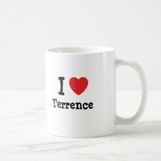 Amo el personalizado del corazón de Terrence perso Taza Básica Blanca