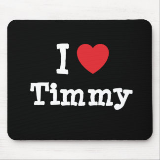 Amo el personalizado del corazón de Timmy personal Tapete De Ratón