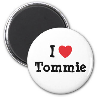 Amo el personalizado del corazón de Tommie persona Imán Redondo 5 Cm