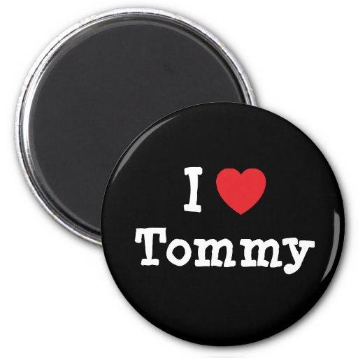 Amo el personalizado del corazón de Tommy personal Imán Redondo 5 Cm