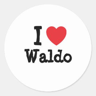 Amo el personalizado del corazón de Waldo Pegatina Redonda