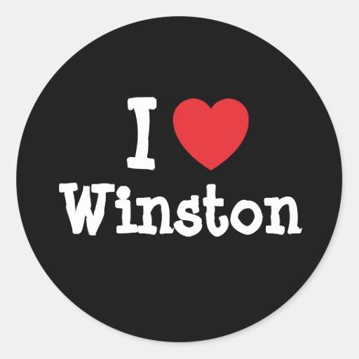 Amo el personalizado del corazón de Winston Pegatina Redonda