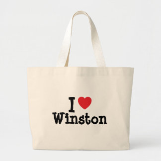 Amo el personalizado del corazón de Winston person Bolsa