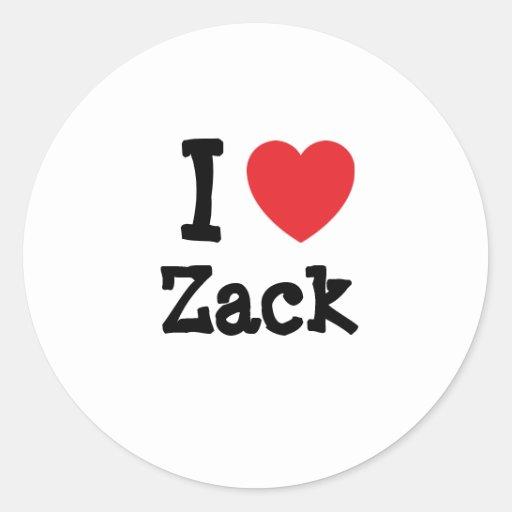 Amo el personalizado del corazón de Zack Pegatina Redonda