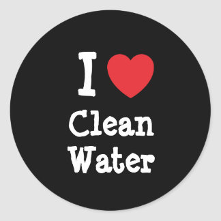 Amo el personalizado del corazón del agua potable pegatina redonda