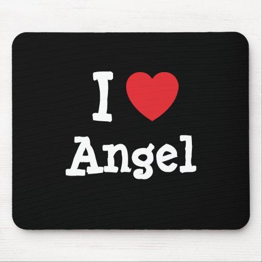 Amo el personalizado del corazón del ángel persona alfombrillas de ratón