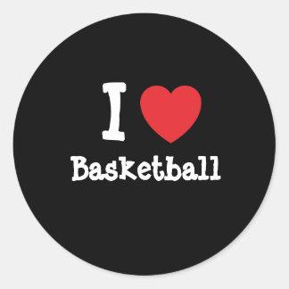 Amo el personalizado del corazón del baloncesto pe pegatina redonda