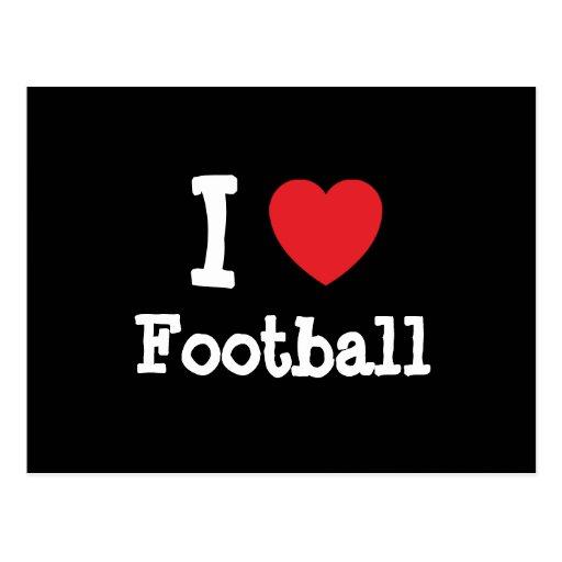 Amo el personalizado del corazón del fútbol person tarjeta postal