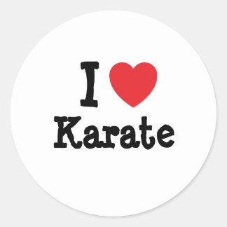 Amo el personalizado del corazón del karate pegatina redonda