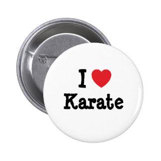 Amo el personalizado del corazón del karate person pin redondo de 2 pulgadas