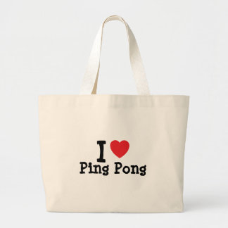 Amo el personalizado del corazón del ping-pong per bolsa tela grande