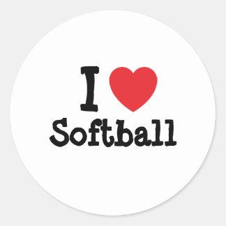 Amo el personalizado del corazón del softball pers pegatina
