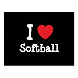 Amo el personalizado del corazón del softball postal
