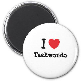 Amo el personalizado del corazón del Taekwondo per Imán Redondo 5 Cm