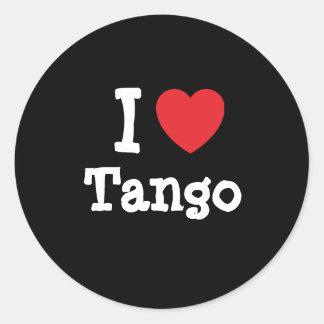 Amo el personalizado del corazón del tango pegatina redonda