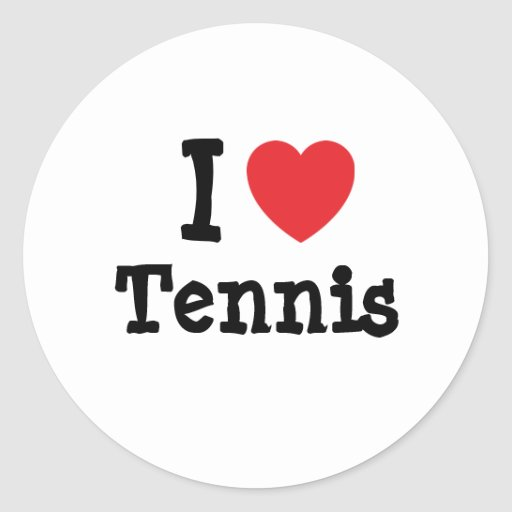 Amo el personalizado del corazón del tenis pegatinas redondas