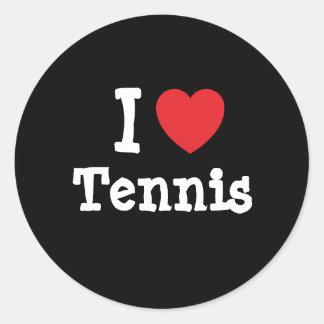 Amo el personalizado del corazón del tenis pegatina redonda