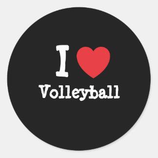 Amo el personalizado del corazón del voleibol pers etiquetas