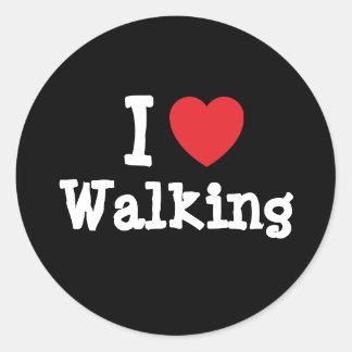 Amo el personalizado del corazón que camina person etiquetas