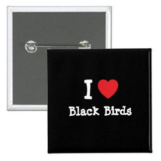 Amo el personalizado negro del corazón de los pája pin cuadrado