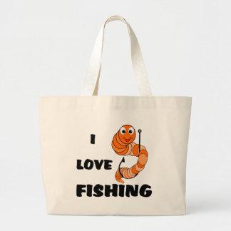 Amo el pescar bolsas lienzo