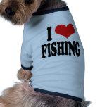 Amo el pescar camisetas de perro
