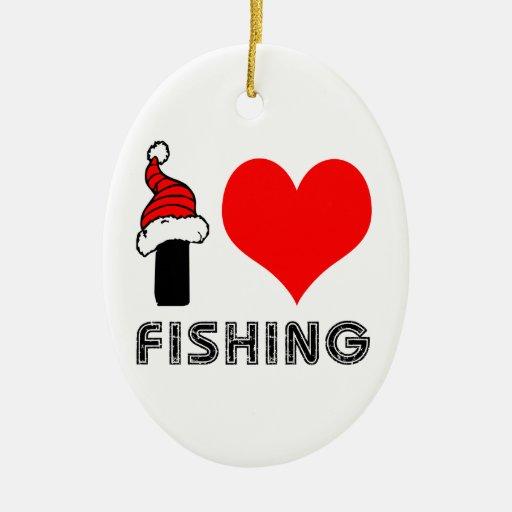 Amo el pescar de diseño adorno navideño ovalado de cerámica