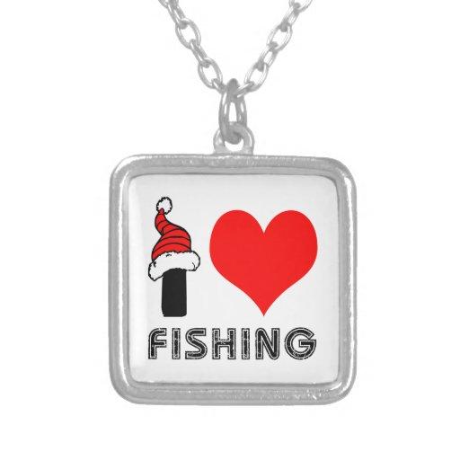 Amo el pescar de diseño colgante cuadrado