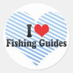 Amo el pescar de guías pegatina redonda