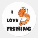 Amo el pescar pegatina redonda