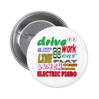 Amo el piano eléctrico pin redondo 5 cm