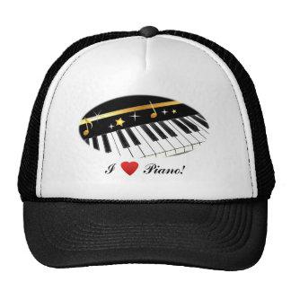 ¡Amo el piano! Gorro De Camionero