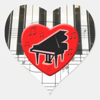 Amo el piano pegatina en forma de corazón