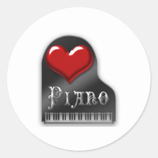 Amo el piano pegatina redonda