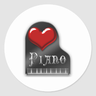 Amo el piano pegatinas redondas