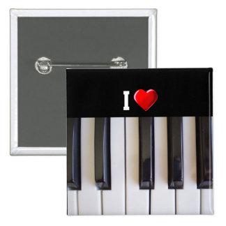 Amo el piano pin cuadrada 5 cm
