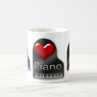 Amo el piano taza básica blanca