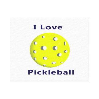 Amo el pickleball w ball.png amarillo lienzo envuelto para galerias