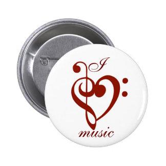Amo el Pin de la música Pin Redondo 5 Cm