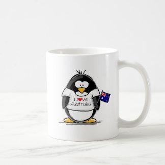 Amo el pingüino de Australia Taza Básica Blanca