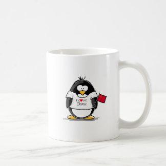 Amo el pingüino de China Taza Básica Blanca