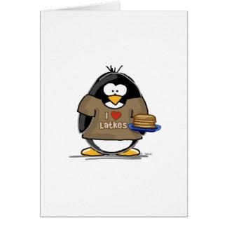 Amo el pingüino de los Latkes Felicitacion