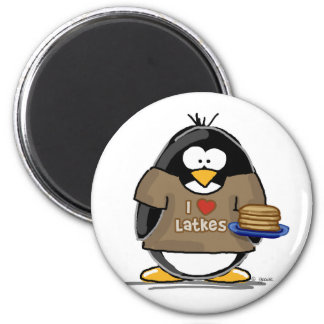 Amo el pingüino de los Latkes Imán Redondo 5 Cm