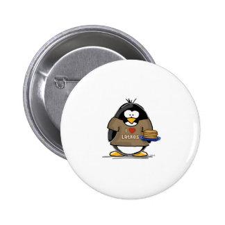 Amo el pingüino de los Latkes Pin Redondo De 2 Pulgadas