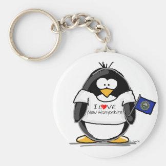 Amo el pingüino de New Hampshire Llavero Redondo Tipo Pin