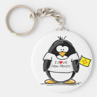 Amo el pingüino de New México Llavero Personalizado