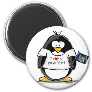 Amo el pingüino de Nueva York Imán Redondo 5 Cm