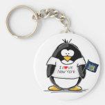 Amo el pingüino de Nueva York Llaveros